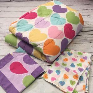 Heart comforter set full size